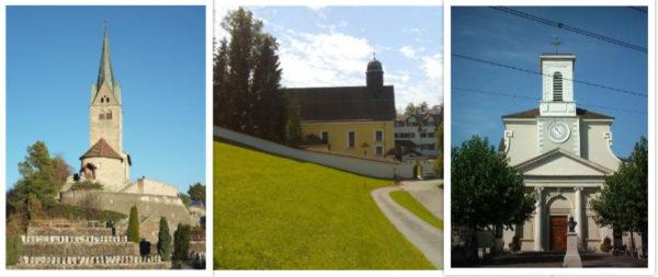 Die Kirche Sogn Gion in Domat/Ems (GR), das Kloster Wonnenstein in Niederteufen (AI) und die Pfarrkirche Heiligkreuz in Carouge (GE) profitieren von der Epiphaniekollekte 2019. (Fotos: zVg)