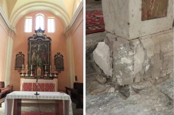 Der Hauptaltar der Kirche SS. Fabiano e Sebastiano in Prato Vallemaggia und die beschädigte Chorballustrade. (Fotos: zVg)